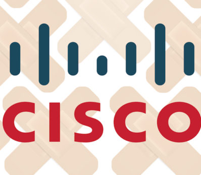 Cisco logo with bandaids in background