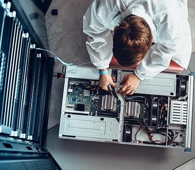 Technician working on computer